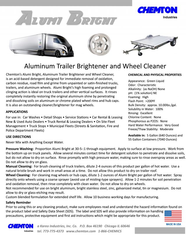 Alumi Bright - Aluminum Trailer Brightener & Wheel Cleaner - Chemton